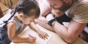 family father daughter love parenting teaching PHSFX2E 300x150 - Family Father Daughter Love Parenting Teaching Drawing Togetherness Concept